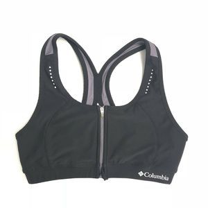 Columbia Sportswear Black Zip Front Sports Bra EUC